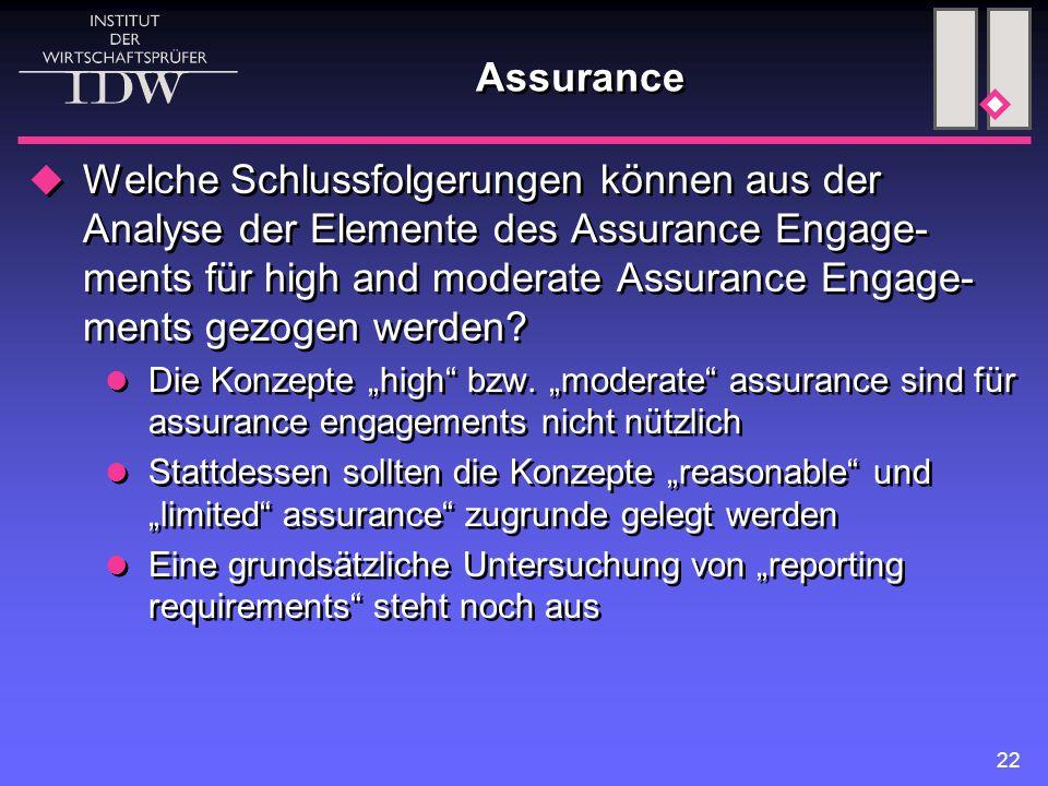 22 Assurance  Welche Schlussfolgerungen können aus der Analyse der Elemente des Assurance Engage- ments für high and moderate Assurance Engage- ments gezogen werden.