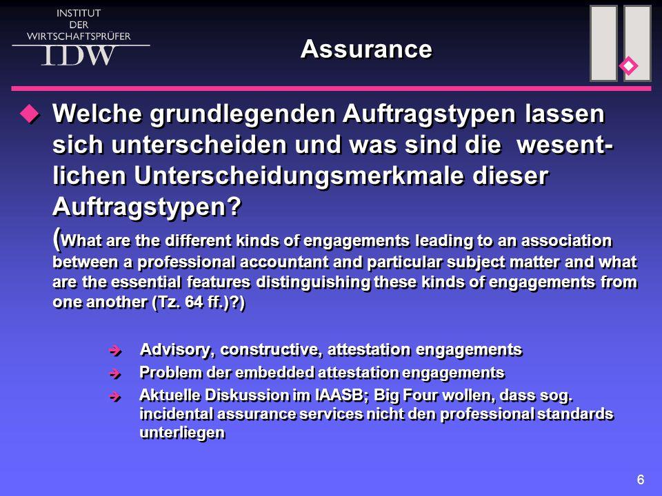 6 Assurance  Welche grundlegenden Auftragstypen lassen sich unterscheiden und was sind die wesent- lichen Unterscheidungsmerkmale dieser Auftragstypen.