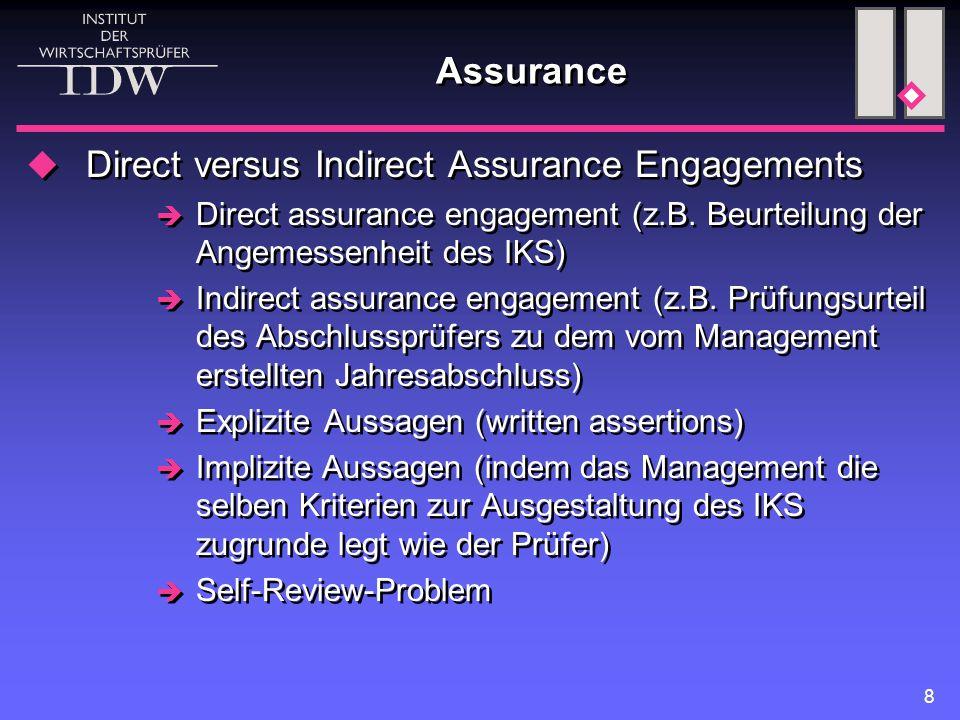 8 Assurance  Direct versus Indirect Assurance Engagements  Direct assurance engagement (z.B. Beurteilung der Angemessenheit des IKS)  Indirect assu