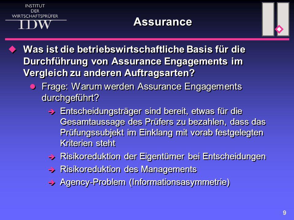 9 Assurance  Was ist die betriebswirtschaftliche Basis für die Durchführung von Assurance Engagements im Vergleich zu anderen Auftragsarten.