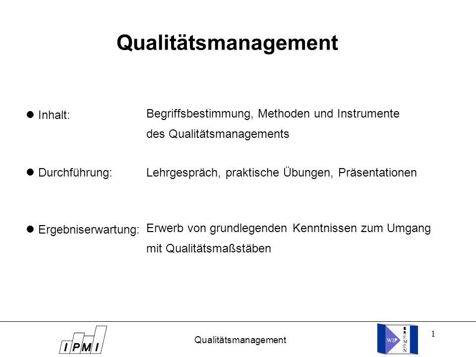 1 Qualitätsmanagement Inhalt: Durchführung: Ergebniserwartung: Begriffsbestimmung, Methoden und Instrumente des Qualitätsmanagements Lehrgespräch, praktische Übungen, Präsentationen Erwerb von grundlegenden Kenntnissen zum Umgang mit Qualitätsmaßstäben