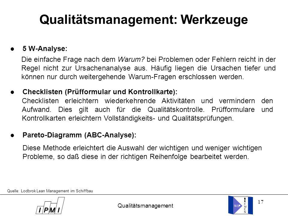 17 l 5 W-Analyse: l Checklisten (Prüfformular und Kontrollkarte): l Pareto-Diagramm (ABC-Analyse): Quelle: Lodbrok Lean Management im Schiffbau Qualit