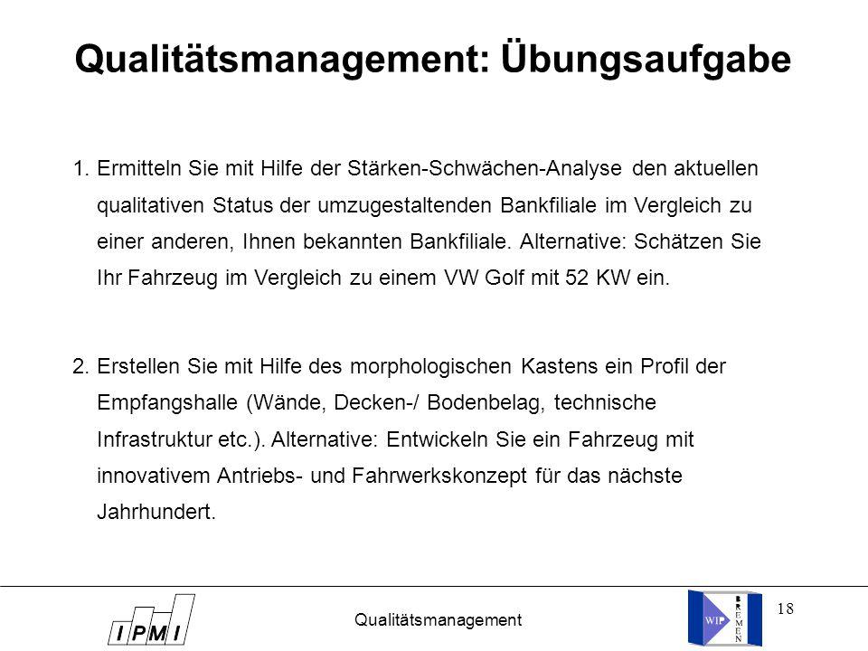 18 Qualitätsmanagement Qualitätsmanagement: Übungsaufgabe 1. Ermitteln Sie mit Hilfe der Stärken-Schwächen-Analyse den aktuellen qualitativen Status d