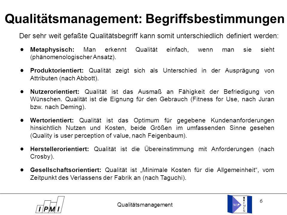 6 Qualitätsmanagement: Begriffsbestimmungen l l l l l l l l l l l l Der sehr weit gefaßte Qualitätsbegriff kann somit unterschiedlich definiert werden