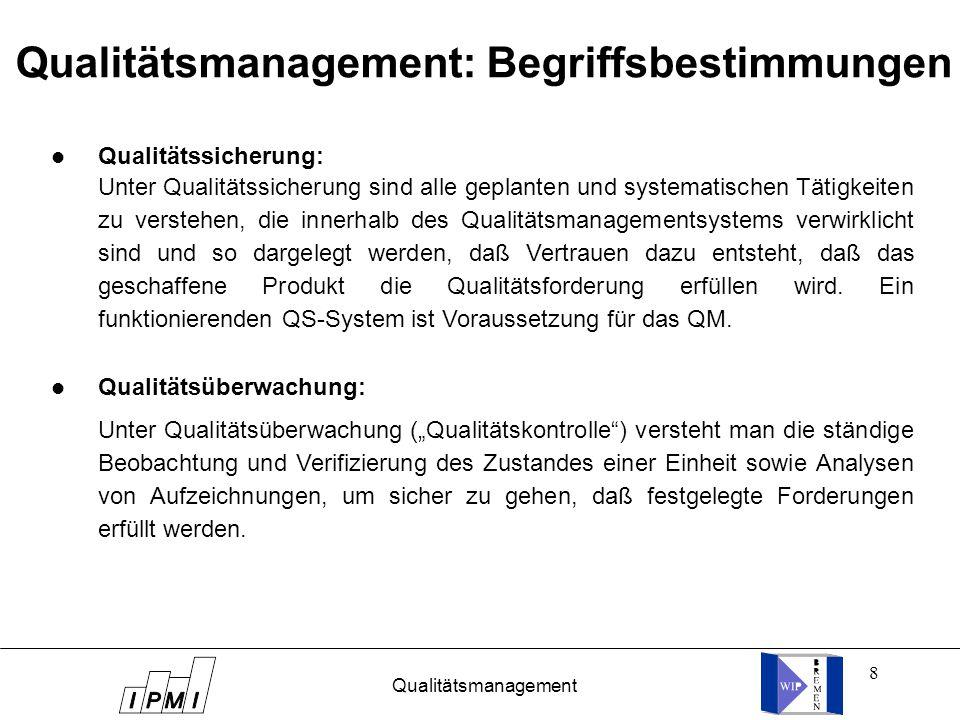 """8 Qualitätsmanagement: Begriffsbestimmungen l Qualitätssicherung: l Qualitätsüberwachung: Unter Qualitätsüberwachung (""""Qualitätskontrolle ) versteht man die ständige Beobachtung und Verifizierung des Zustandes einer Einheit sowie Analysen von Aufzeichnungen, um sicher zu gehen, daß festgelegte Forderungen erfüllt werden."""