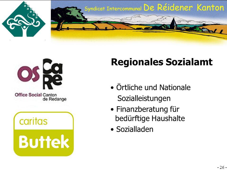 SI DRK - 26 - Syndicat Intercommunal De Réidener Kanton Regionales Sozialamt Örtliche und Nationale Sozialleistungen Finanzberatung für bedürftige Haushalte Sozialladen