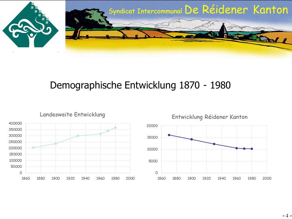 SI DRK - 5 - Syndicat Intercommunal De Réidener Kanton Folgende Ziele wurden im Laufe der Jahre umgesetzt: Schaffung von 2 interkommunalen Industriezonen in denen 45 Betriebe angesiedelt sind, welche zirka 650 Arbeitsstellen anbieten.