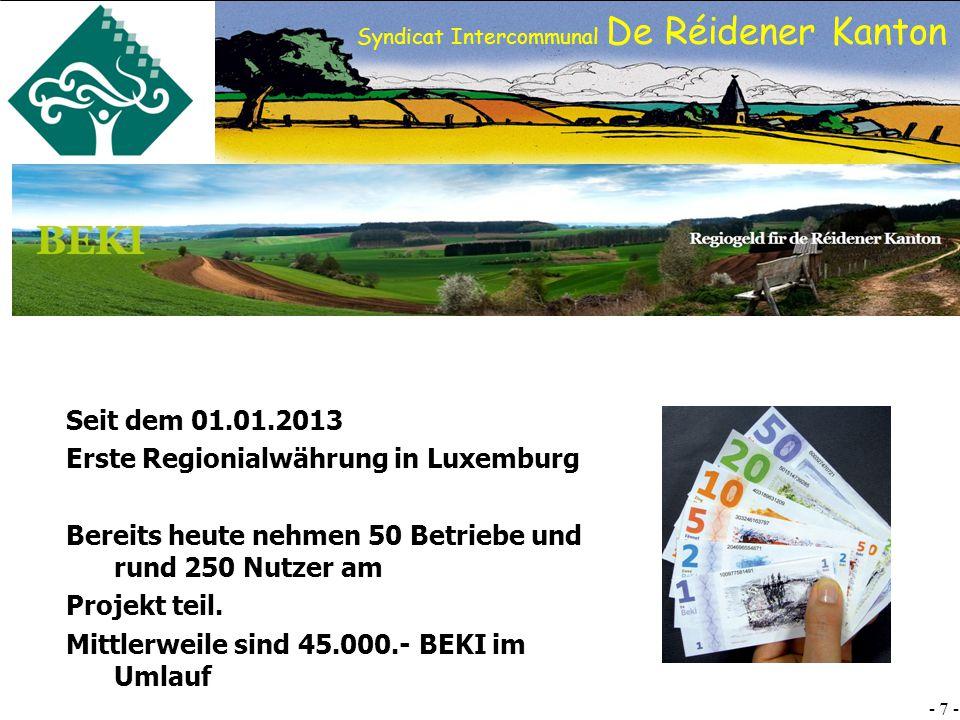 SI DRK - 7 - Syndicat Intercommunal De Réidener Kanton Seit dem 01.01.2013 Erste Regionialwährung in Luxemburg Bereits heute nehmen 50 Betriebe und rund 250 Nutzer am Projekt teil.