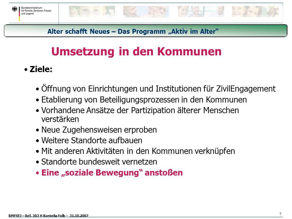 """BMFSFJ – Ref. 303 H Kornelia Folk – 31.10.2007 Generationsübergreifende Freiwilligendienste - Freiwilligendienst aller Generationen 7 """"Alter schafft N"""