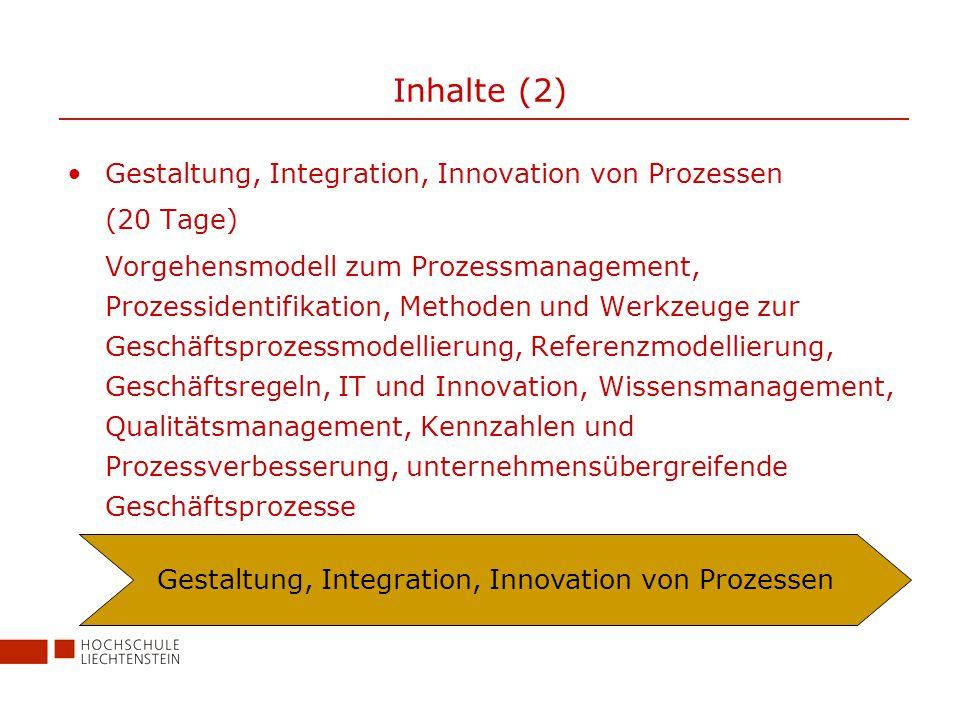 Inhalte (2) Gestaltung, Integration, Innovation von Prozessen (20 Tage) Vorgehensmodell zum Prozessmanagement, Prozessidentifikation, Methoden und Werkzeuge zur Geschäftsprozessmodellierung, Referenzmodellierung, Geschäftsregeln, IT und Innovation, Wissensmanagement, Qualitätsmanagement, Kennzahlen und Prozessverbesserung, unternehmensübergreifende Geschäftsprozesse Gestaltung, Integration, Innovation von Prozessen