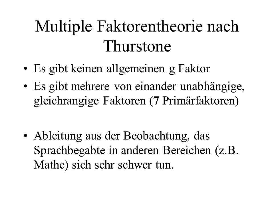 Multiple Faktorentheorie nach Thurstone Es gibt keinen allgemeinen g Faktor Es gibt mehrere von einander unabhängige, gleichrangige Faktoren (7 Primär