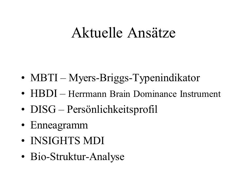 Aktuelle Ansätze MBTI – Myers-Briggs-Typenindikator HBDI – Herrmann Brain Dominance Instrument DISG – Persönlichkeitsprofil Enneagramm INSIGHTS MDI Bi