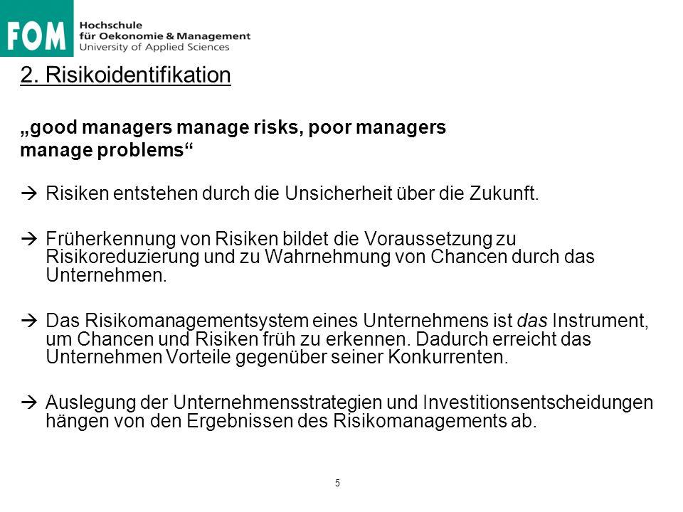 """2. Risikoidentifikation """"good managers manage risks, poor managers manage problems""""  Risiken entstehen durch die Unsicherheit über die Zukunft.  Frü"""