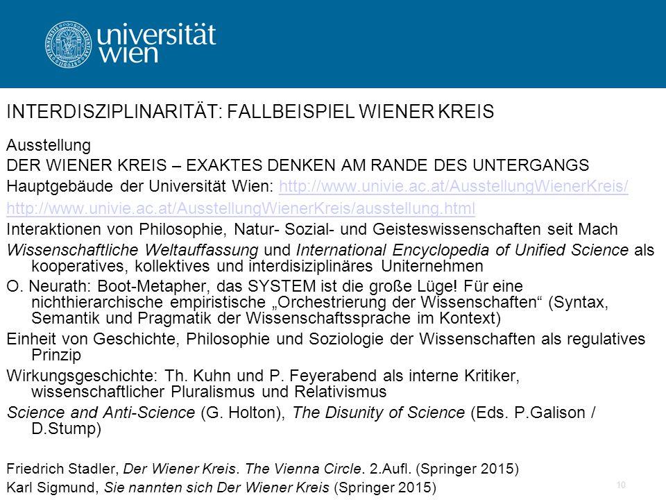10 INTERDISZIPLINARITÄT: FALLBEISPIEL WIENER KREIS Ausstellung DER WIENER KREIS – EXAKTES DENKEN AM RANDE DES UNTERGANGS Hauptgebäude der Universität Wien: http://www.univie.ac.at/AusstellungWienerKreis/http://www.univie.ac.at/AusstellungWienerKreis/ http://www.univie.ac.at/AusstellungWienerKreis/ausstellung.html Interaktionen von Philosophie, Natur- Sozial- und Geisteswissenschaften seit Mach Wissenschaftliche Weltauffassung und International Encyclopedia of Unified Science als kooperatives, kollektives und interdisiziplinäres Uniternehmen O.