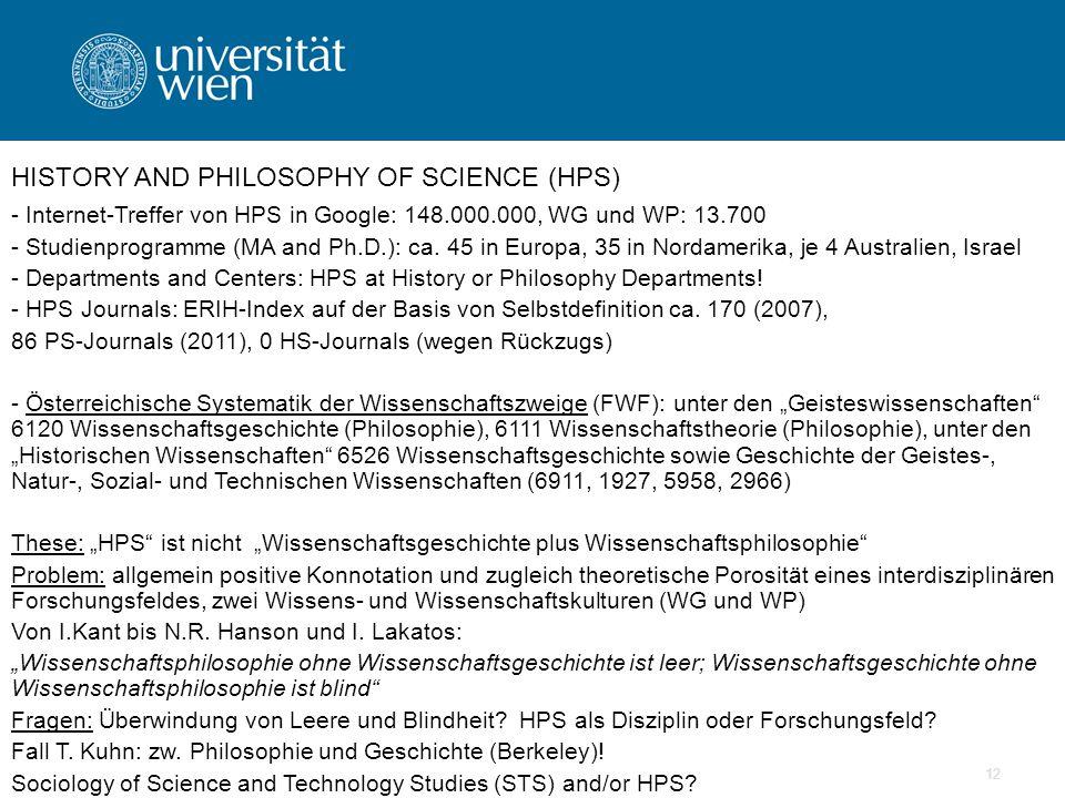 12 - Internet-Treffer von HPS in Google: 148.000.000, WG und WP: 13.700 - Studienprogramme (MA and Ph.D.): ca.