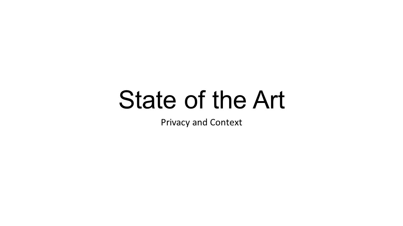 State of the Art Privacy and Context