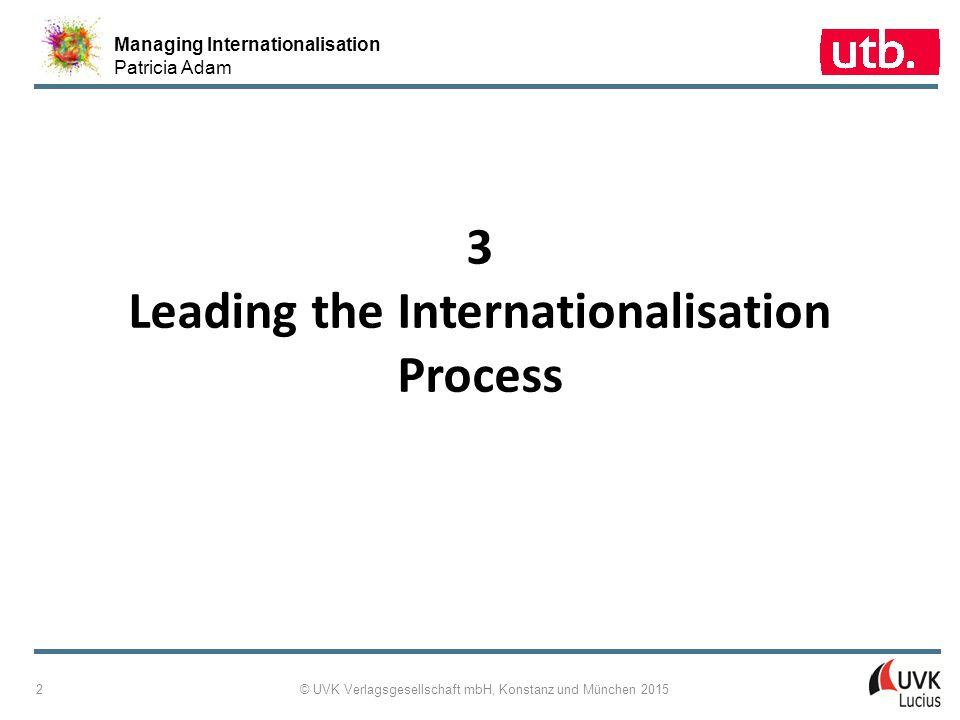 Managing Internationalisation Patricia Adam © UVK Verlagsgesellschaft mbH, Konstanz und München 2015 3 3-1: Concept Map Leading the Internationalisation Process