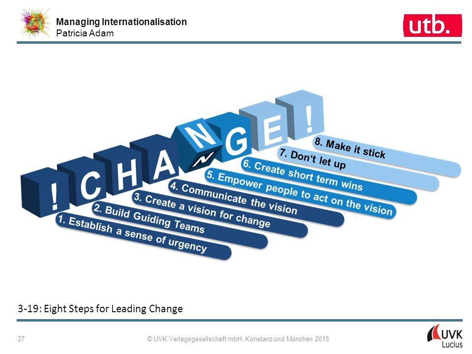 Managing Internationalisation Patricia Adam © UVK Verlagsgesellschaft mbH, Konstanz und München 2015 27 3 ‑ 19: Eight Steps for Leading Change