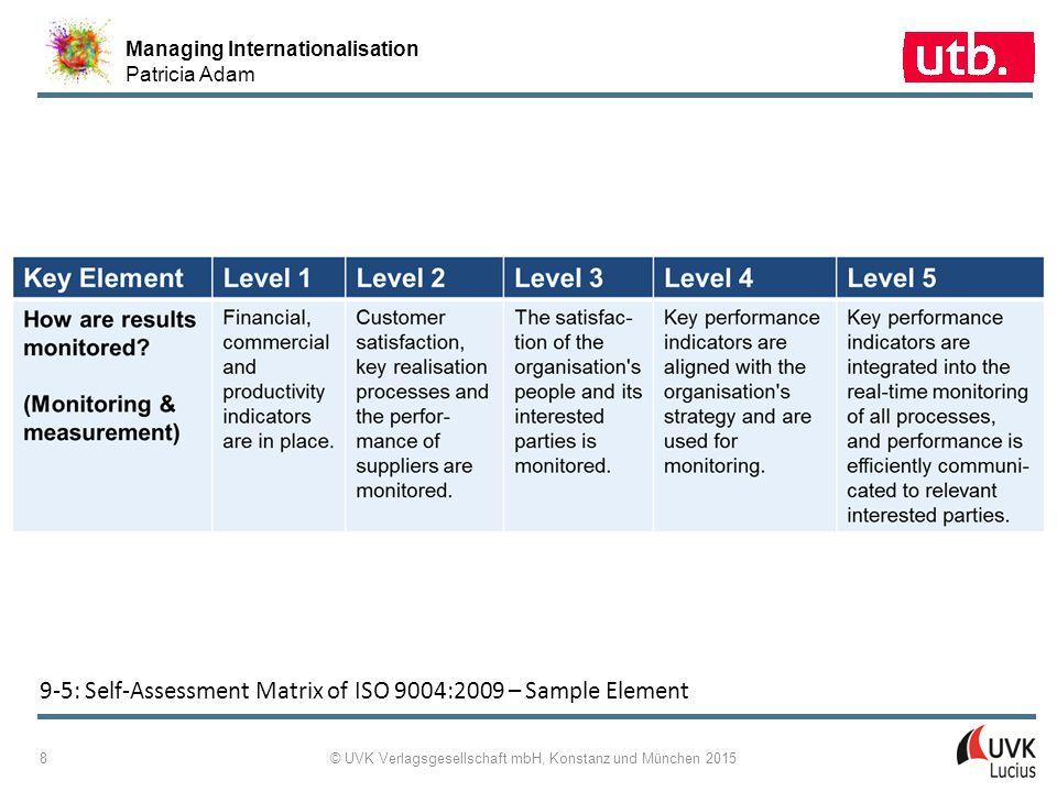 Managing Internationalisation Patricia Adam © UVK Verlagsgesellschaft mbH, Konstanz und München 2015 8 9 ‑ 5: Self-Assessment Matrix of ISO 9004:2009