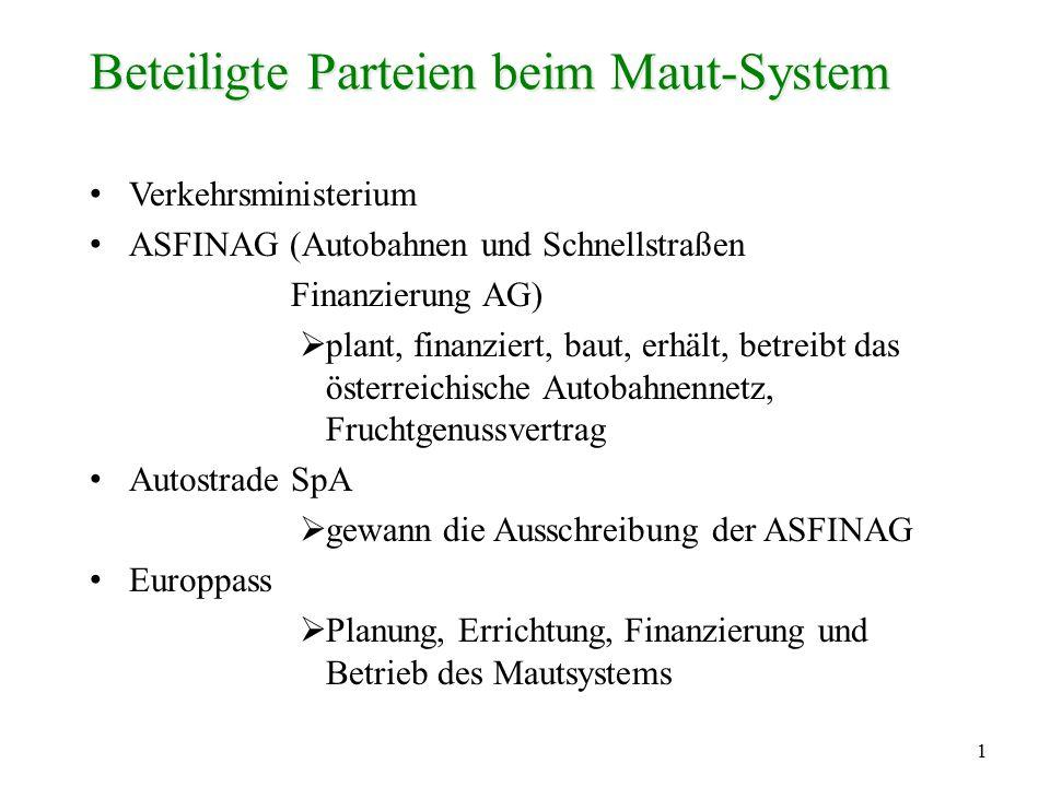1 Beteiligte Parteien beim Maut-System Verkehrsministerium ASFINAG (Autobahnen und Schnellstraßen Finanzierung AG)  plant, finanziert, baut, erhält,