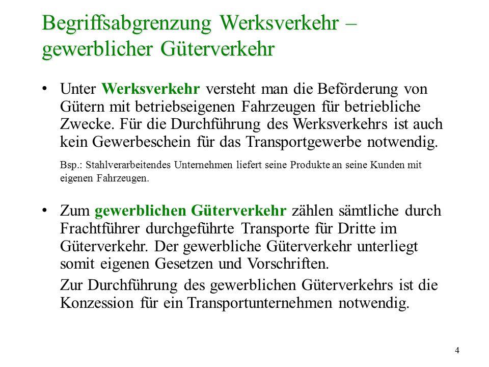 4 Begriffsabgrenzung Werksverkehr – gewerblicher Güterverkehr Unter Werksverkehr versteht man die Beförderung von Gütern mit betriebseigenen Fahrzeuge