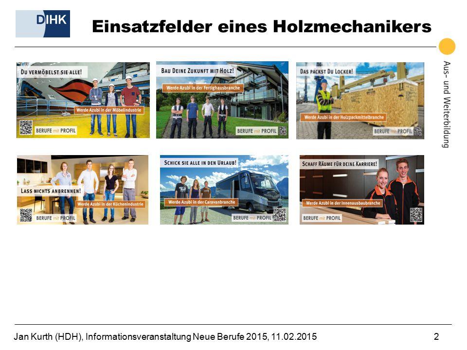 Jan Kurth (HDH), Informationsveranstaltung Neue Berufe 2015, 11.02.20152 Einsatzfelder eines Holzmechanikers