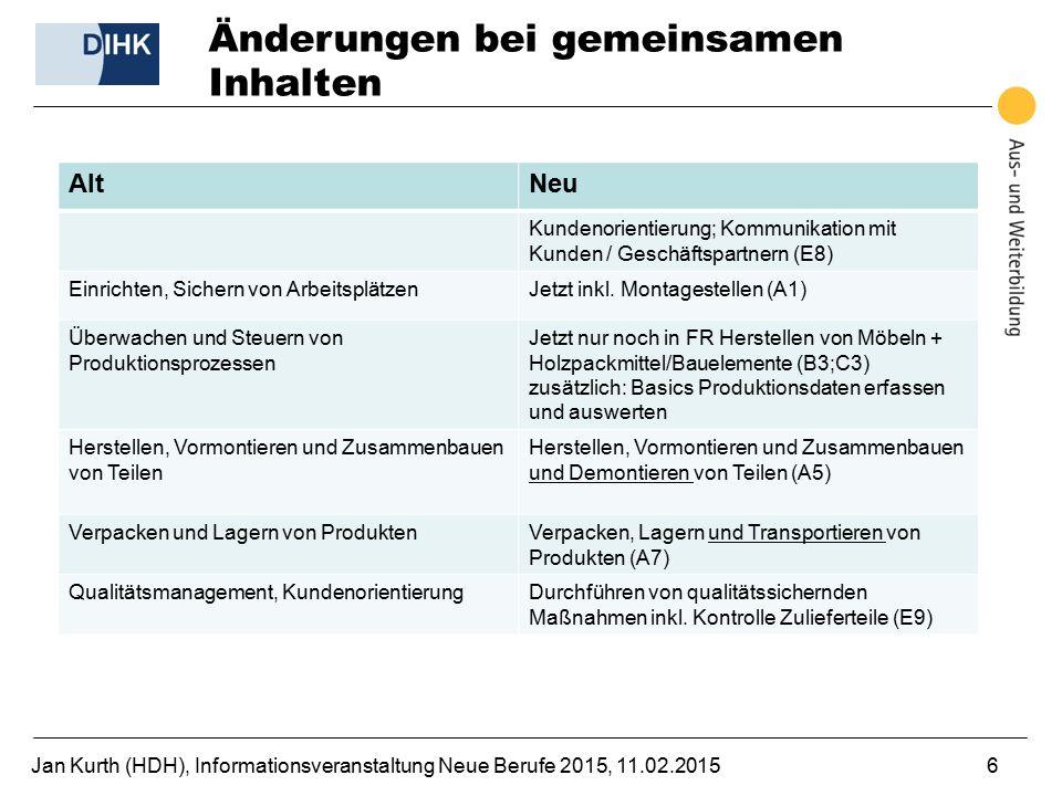 Jan Kurth (HDH), Informationsveranstaltung Neue Berufe 2015, 11.02.20156 Änderungen bei gemeinsamen Inhalten AltNeu Kundenorientierung; Kommunikation