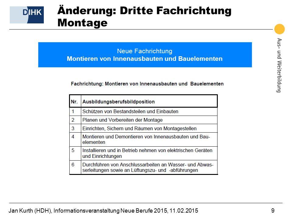 Jan Kurth (HDH), Informationsveranstaltung Neue Berufe 2015, 11.02.20159 Änderung: Dritte Fachrichtung Montage Neue Fachrichtung Montieren von Innenau