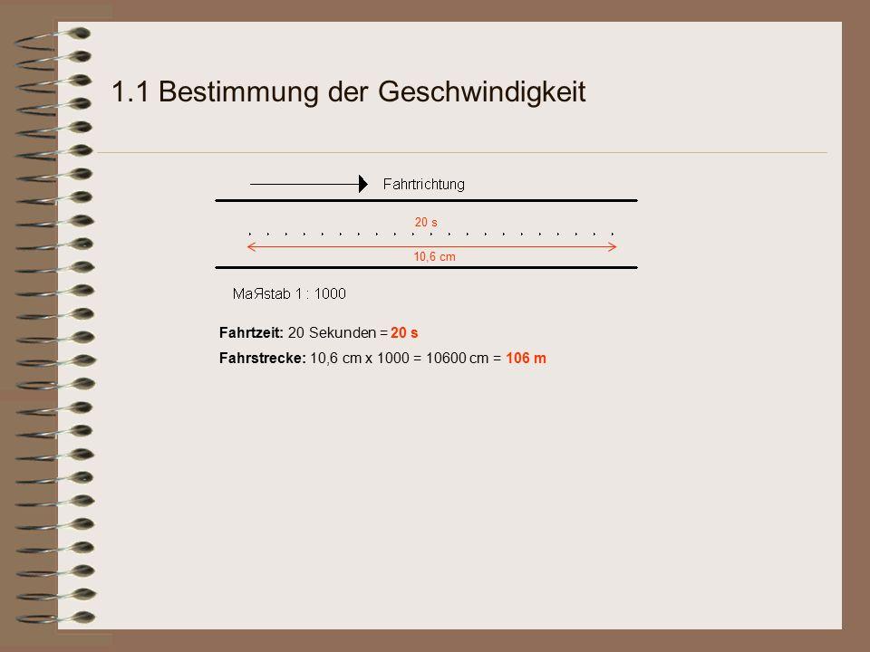 1.1 Bestimmung der Geschwindigkeit 10,6 cm 20 s Fahrtzeit: 20 Sekunden = 20 s Fahrstrecke: 10,6 cm x 1000 = 10600 cm = 106 m