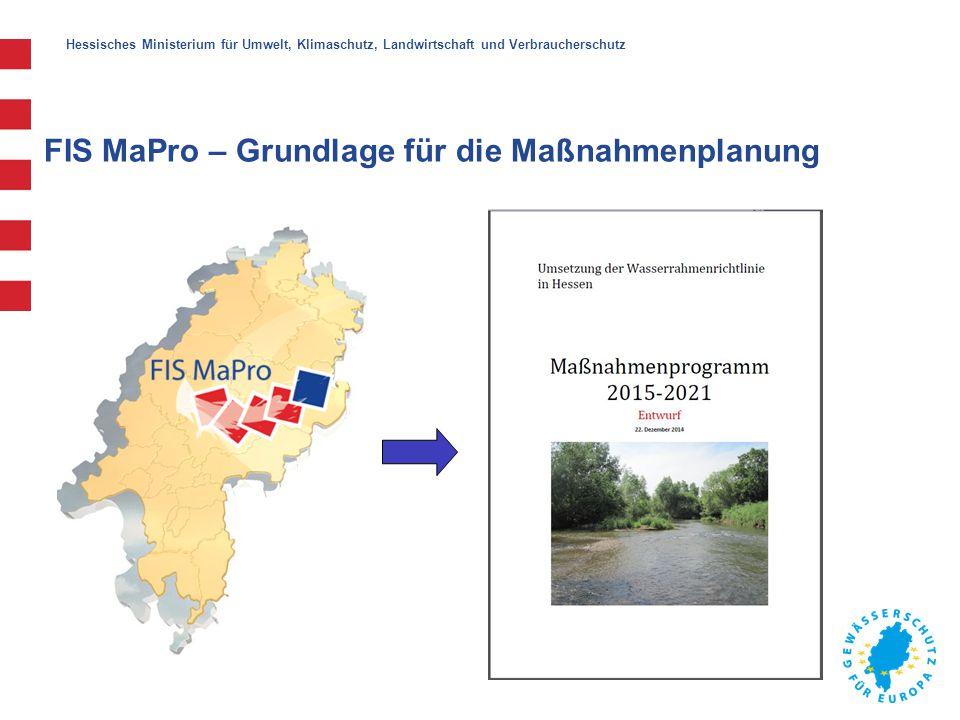 Hessisches Ministerium für Umwelt, Klimaschutz, Landwirtschaft und Verbraucherschutz FIS MaPro – Grundlage für das Controlling Abweichungen korrigieren Gegenmaßnahmen ergreifen Soll/Ist-Vergleich Vorgesehene Maßnahmen nach dem Programm WRRL