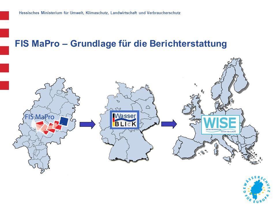 """Hessisches Ministerium für Umwelt, Klimaschutz, Landwirtschaft und Verbraucherschutz FIS MaPro – Aktualisierung Integration der aktuellen Wasserkörper der Bestandsaufnahme 2013/2014 Zuordnung der Maßnahmen den aktuellen Wasserkörpern (sofern es Änderungen an den Wasserkörperflächen und/oder Umkodierungen gab) Bereitstellung der aktuellen Monitoringergebnisse pro Wasserkörper Linearen Verortungen erfolgen zukünftig nicht mehr über die ID_GIS, stattdessen werden die Strecken über die Angaben """"Von_Meter / """"Bis_Meter / GEWÄSSERKENNZAHL angegeben."""
