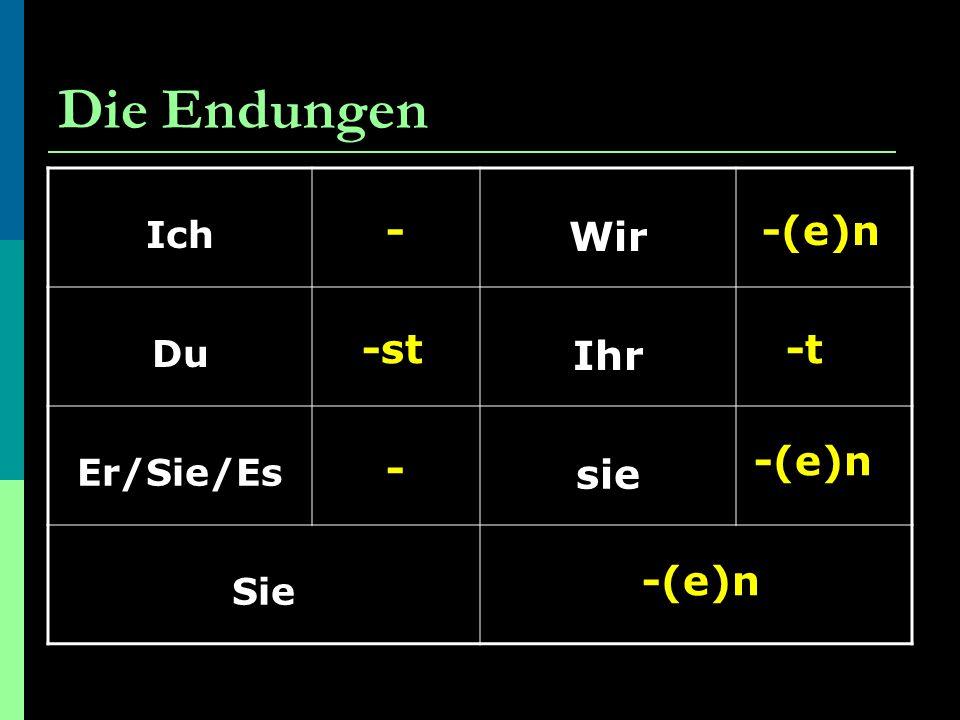 Die Endungen Ich Wir Du Ihr Er/Sie/Es sie Sie - -st - -(e)n -t -(e)n