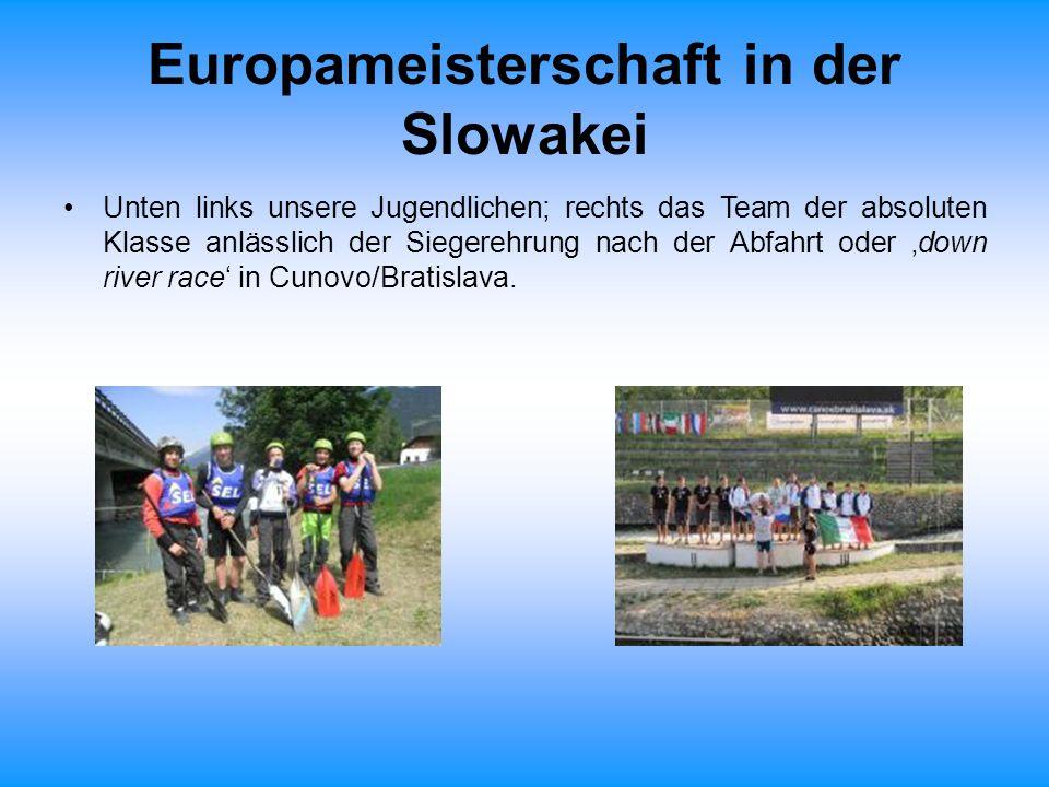 Europameisterschaft in der Slowakei Unten links unsere Jugendlichen; rechts das Team der absoluten Klasse anlässlich der Siegerehrung nach der Abfahrt