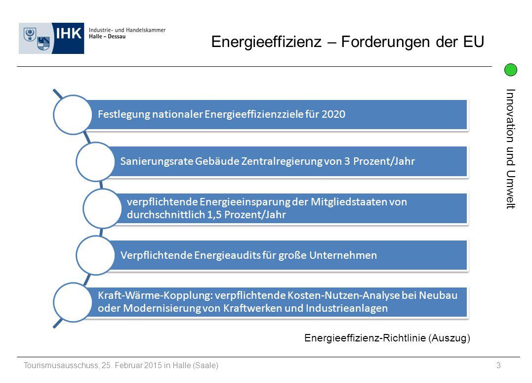 Innovation und Umwelt Tourismusausschuss, 25.Februar 2015 in Halle (Saale)14 Haben Sie Fragen.