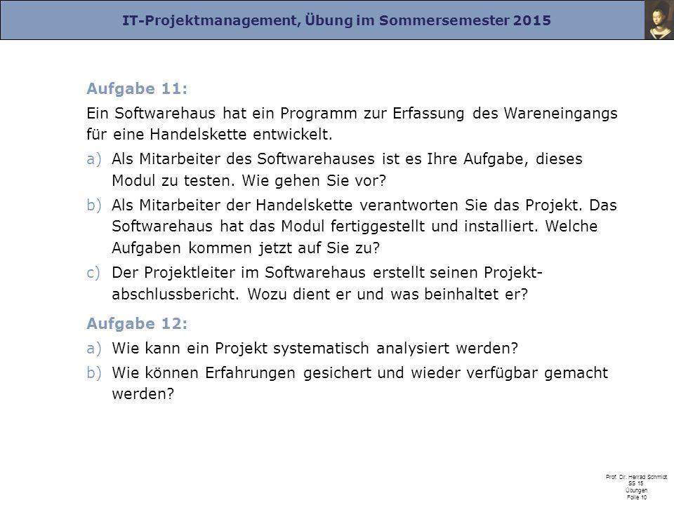 IT-Projektmanagement, Übung im Sommersemester 2015 Prof. Dr. Herrad Schmidt SS 15 Übungen Folie 10 Aufgabe 11: Ein Softwarehaus hat ein Programm zur E
