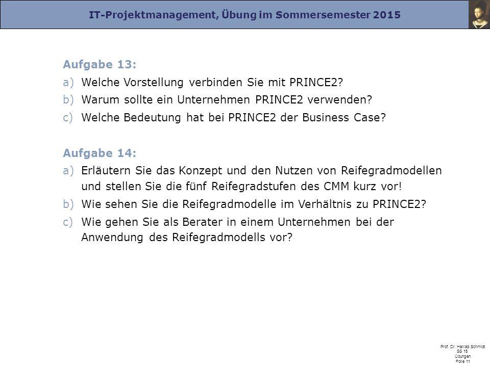 IT-Projektmanagement, Übung im Sommersemester 2015 Prof. Dr. Herrad Schmidt SS 15 Übungen Folie 11 Aufgabe 13: a)Welche Vorstellung verbinden Sie mit