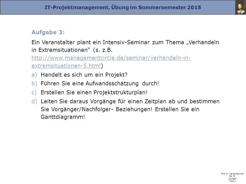 IT-Projektmanagement, Übung im Sommersemester 2015 Prof. Dr. Herrad Schmidt SS 15 Übungen Folie 4 Aufgabe 3: Ein Veranstalter plant ein Intensiv-Semin