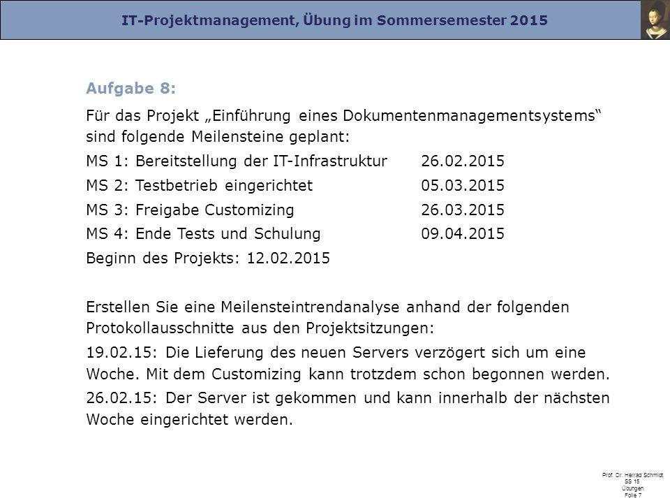 """IT-Projektmanagement, Übung im Sommersemester 2015 Prof. Dr. Herrad Schmidt SS 15 Übungen Folie 7 Aufgabe 8: Für das Projekt """"Einführung eines Dokumen"""