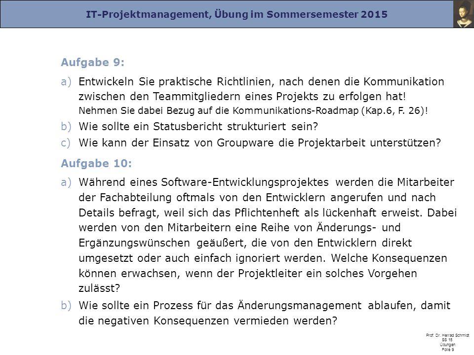 IT-Projektmanagement, Übung im Sommersemester 2015 Prof. Dr. Herrad Schmidt SS 15 Übungen Folie 9 Aufgabe 9: a)Entwickeln Sie praktische Richtlinien,
