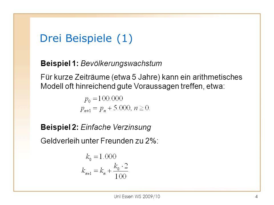 Uni Essen WS 2009/105 Beispiel 3: Angebot und Nachfrage Eine empirische Erhebung in der Essener Mensa ergibt: Kostet ein Wasser 40 ct, werden 141 Flaschen verkauft.