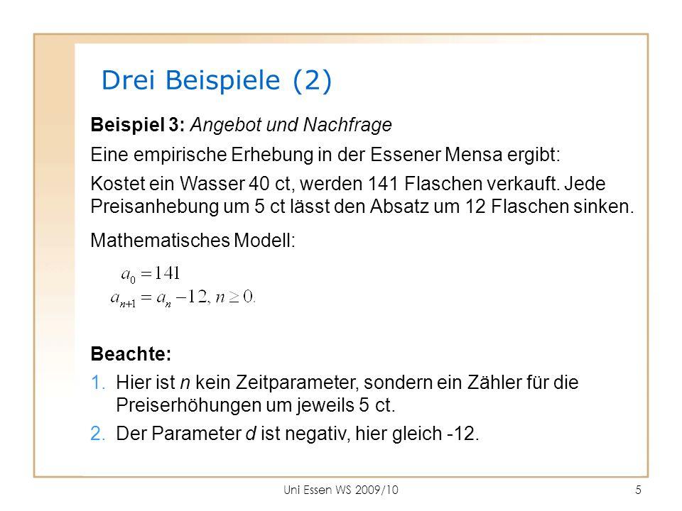 Uni Essen WS 2009/106 Numerisch Mit dem Startwert und der Differenz d liegt alles Weitere fest.