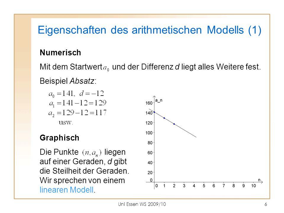 Uni Essen WS 2009/1027 Charakteristikum linearen Wachstums Das Verhältnis Aufwärts ( ) zu Vorwärts ( ) ist konstant: