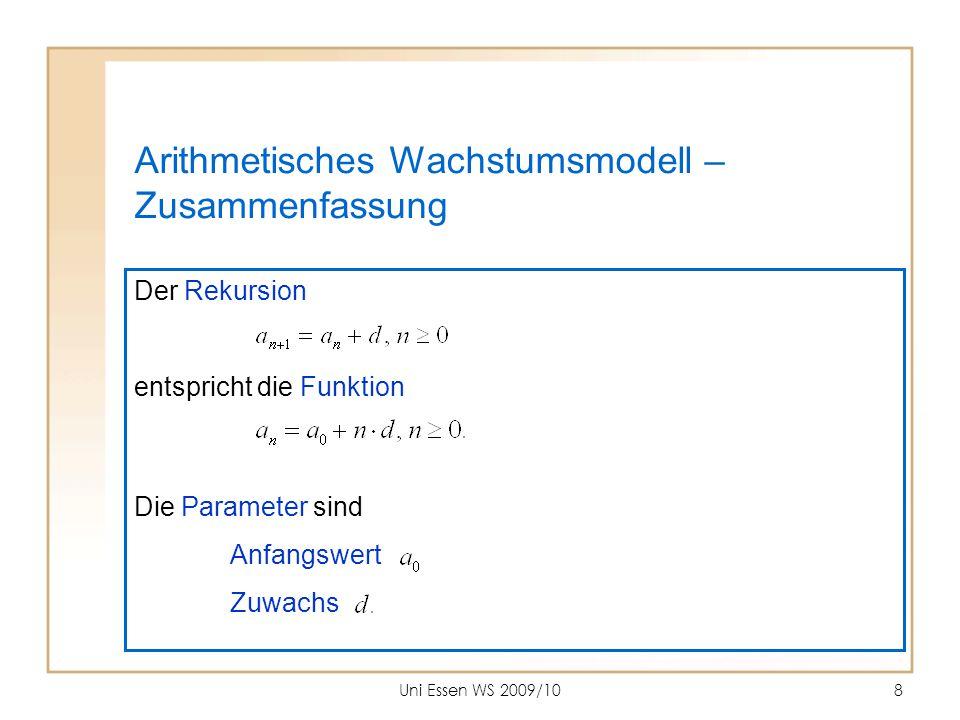 Uni Essen WS 2009/1019 Formen der Geradengleichung (1) Allgemeine Form (1) Normalform (2) m gibt die Steigung, b den y-Achsenabschnitt.
