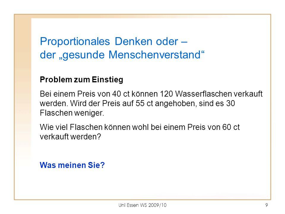 Uni Essen WS 2009/1010 Naheliegend … (bei gesundem Menschenverstand??) Preisanstieg und Rückgang der Verkaufszahlen sind proportional.