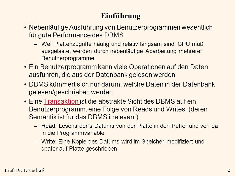 Prof.Dr. T. Kudraß13 Dirty Read Beispiel 2 UPDATE PERS SET GEHALT= GEHALT+1000 WHERE PNR=2345...