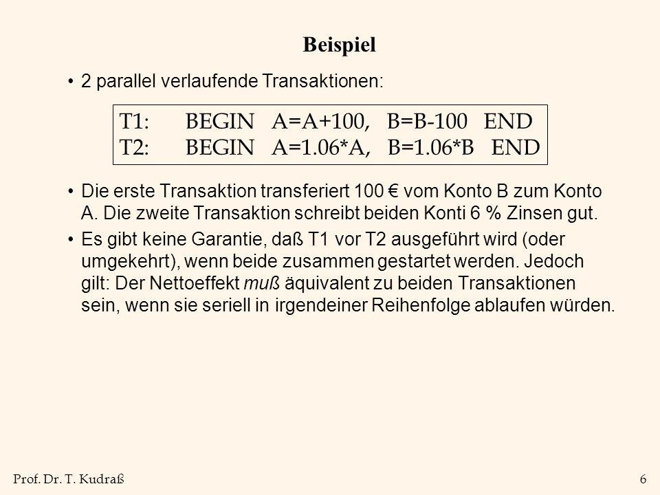 Prof. Dr. T. Kudraß6 Beispiel Die erste Transaktion transferiert 100 € vom Konto B zum Konto A.