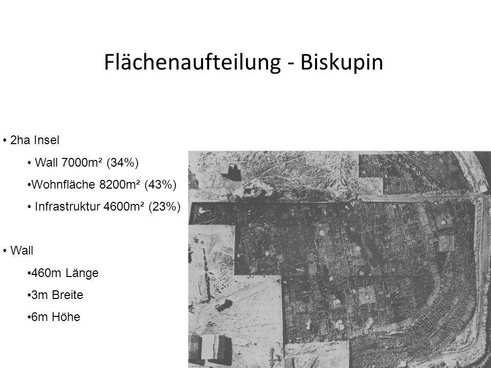 2ha Insel Wall 7000m² (34%) Wohnfläche 8200m² (43%) Infrastruktur 4600m² (23%) Wall 460m Länge 3m Breite 6m Höhe Flächenaufteilung - Biskupin