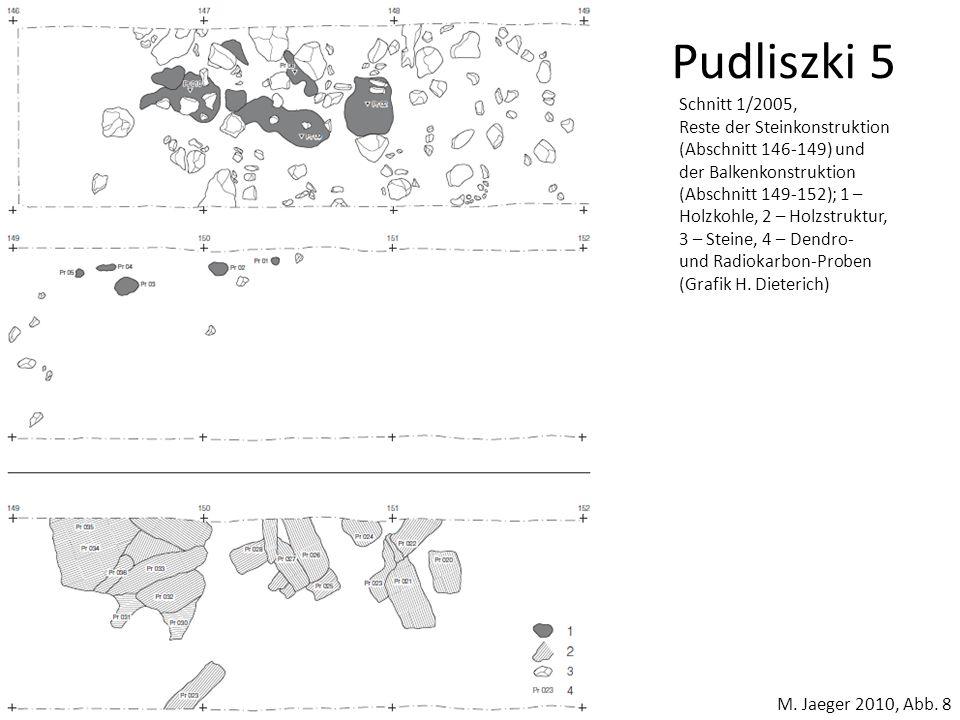 Pudliszki 5 M. Jaeger 2010, Abb. 8 Schnitt 1/2005, Reste der Steinkonstruktion (Abschnitt 146-149) und der Balkenkonstruktion (Abschnitt 149-152); 1 –