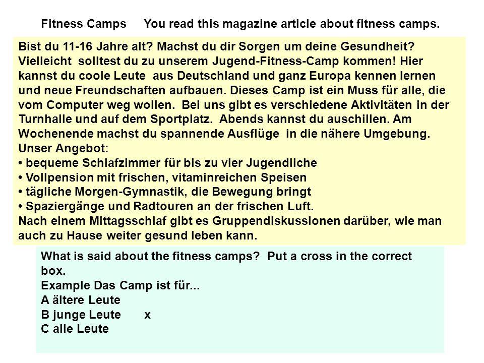 (i) Die Fitness-Camp-Kunden sind.......................................
