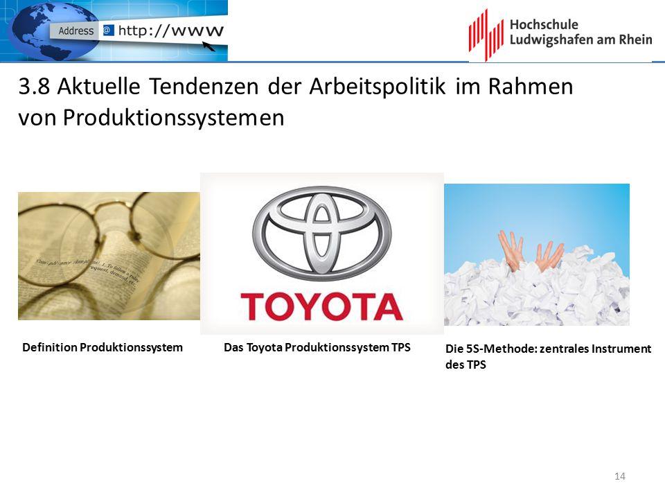3.8 Aktuelle Tendenzen der Arbeitspolitik im Rahmen von Produktionssystemen Definition Produktionssystem Das Toyota Produktionssystem TPS Die 5S-Metho